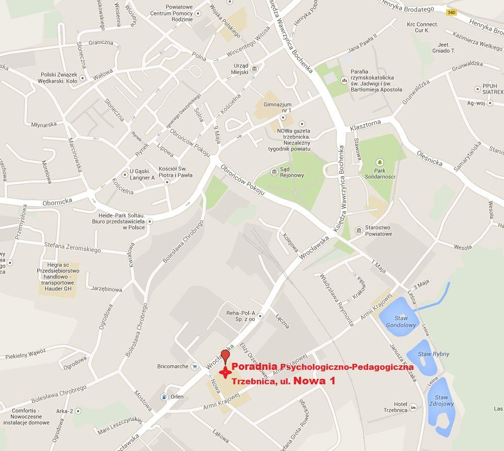 Poradnia P-P Trzebnica, ul. Nowa 1 - mapa